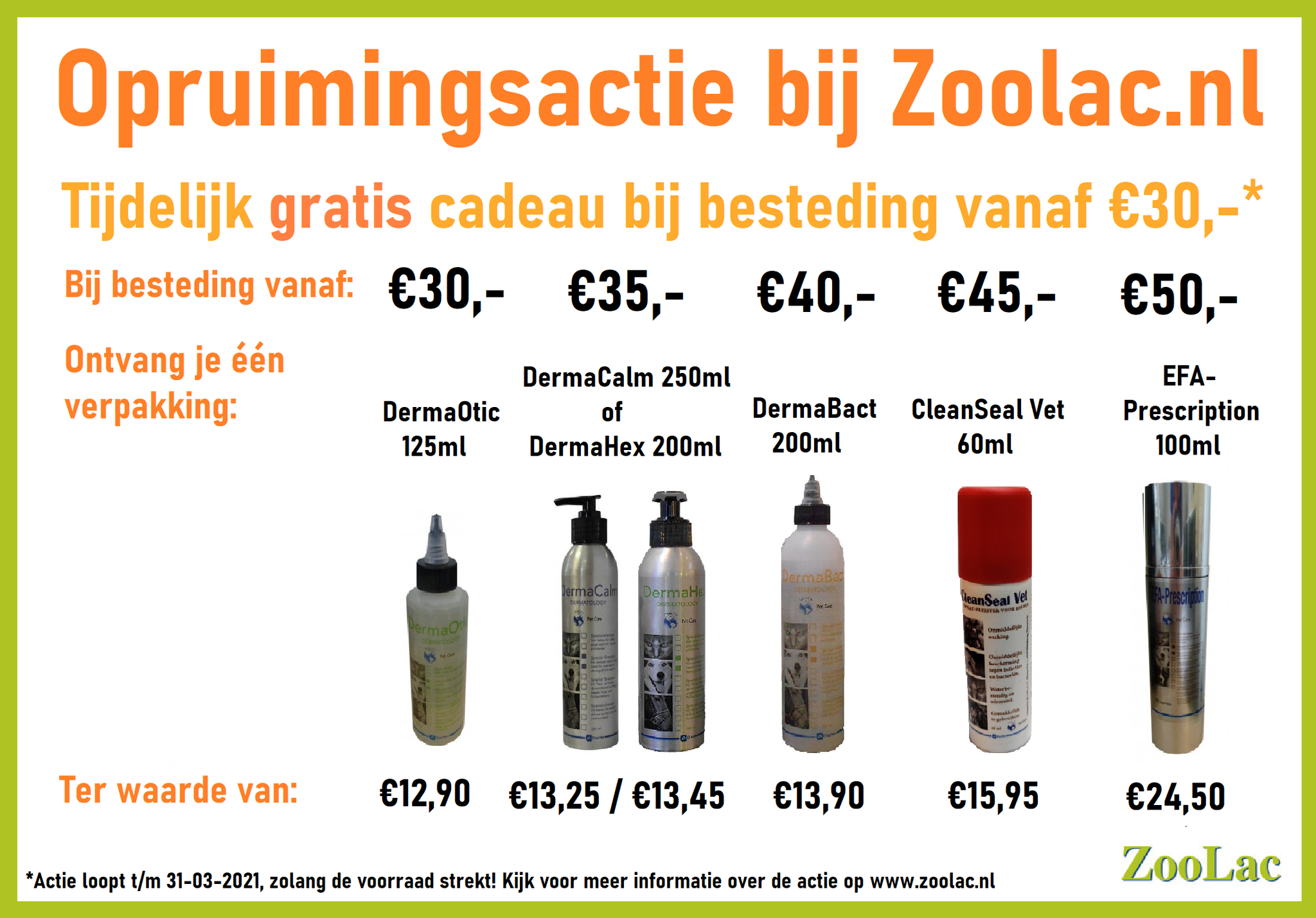 Opruimingsactie gratis cadeau op zoolac.nl