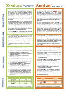 Informatiebrochure over de samenstelling en eigenschappen van Zoolac Propaste én Zoolac Multipaste