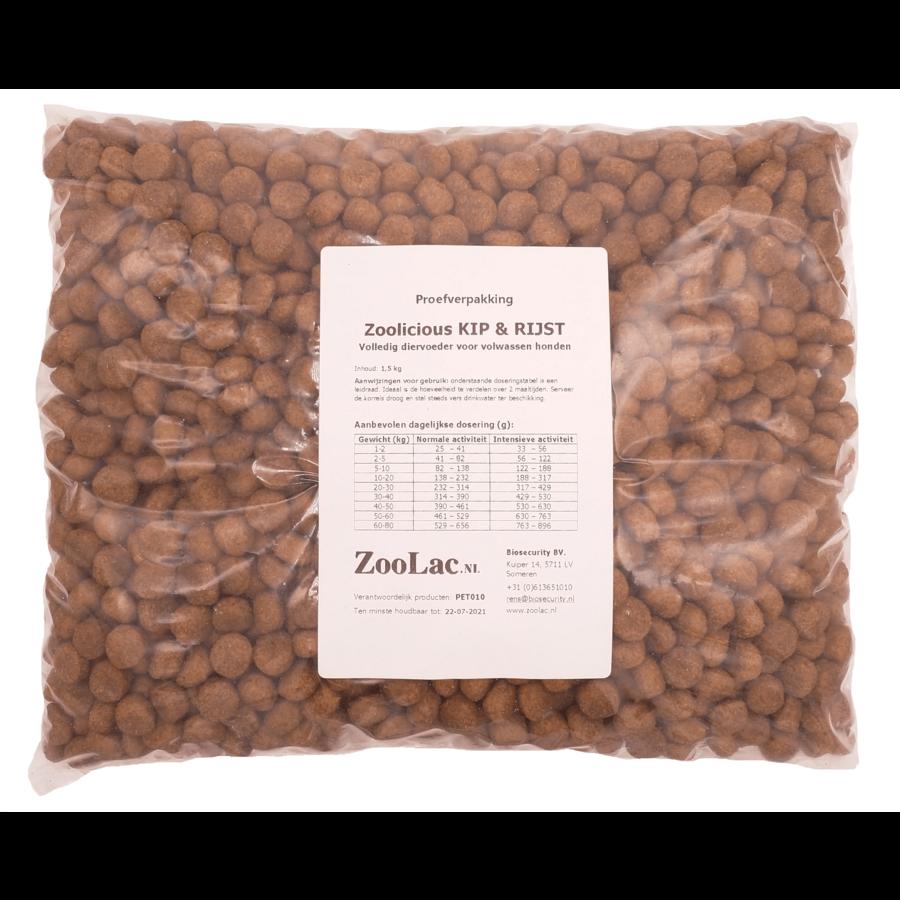Zoolicious Kip & Rijst 1,5 kg - proefverpakking-1
