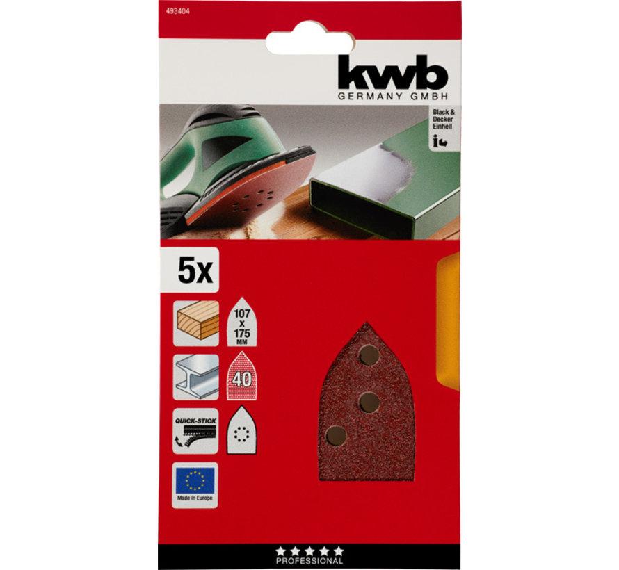KWB Schuurdriehoeken, hout & metaal. 107 X 175 MM K40