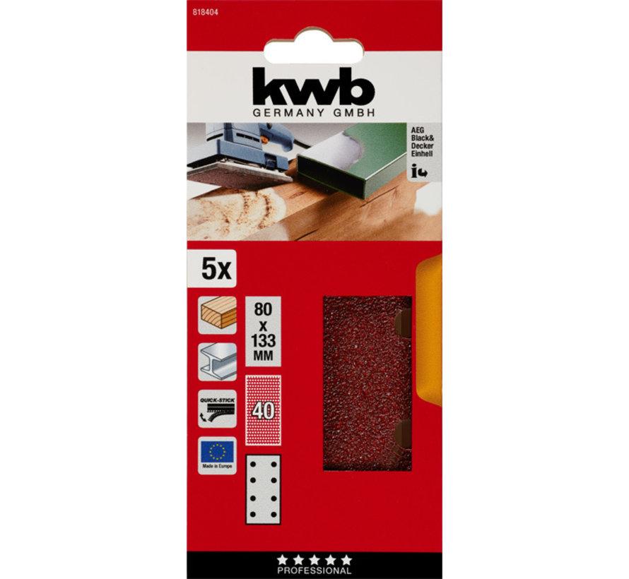 KWB Schuurstroken, hout & metaal. 80 X 133 MM K40
