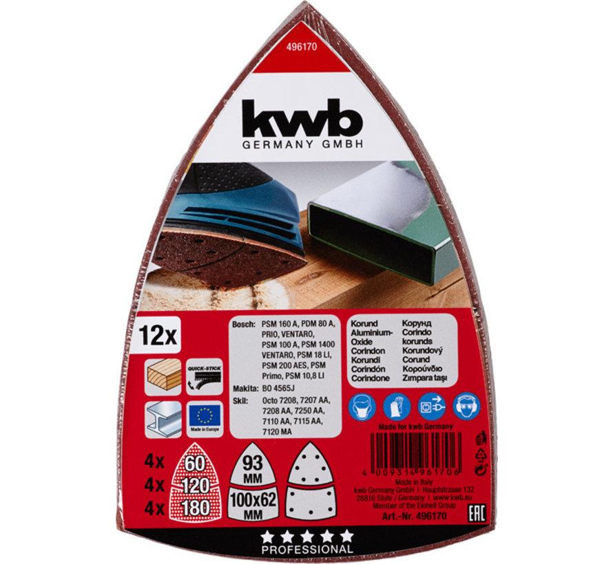 KWB Schuurblad Set 12st. 100 X 62, 93 MM ASSORTI