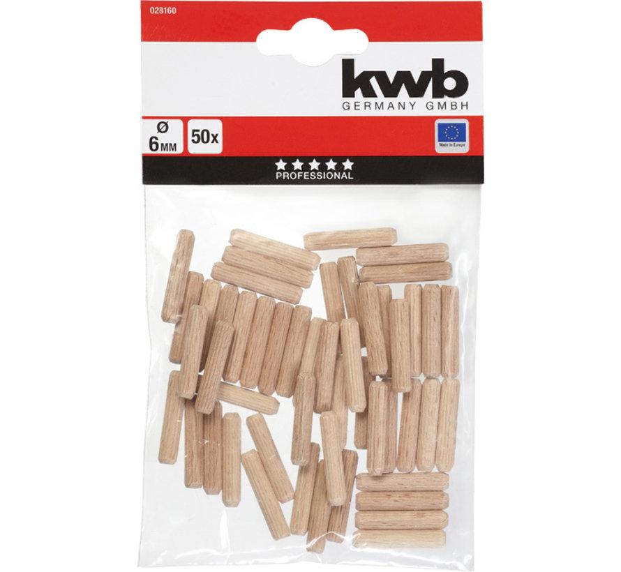 KWB Houten deuvels 6mm 50  stuks
