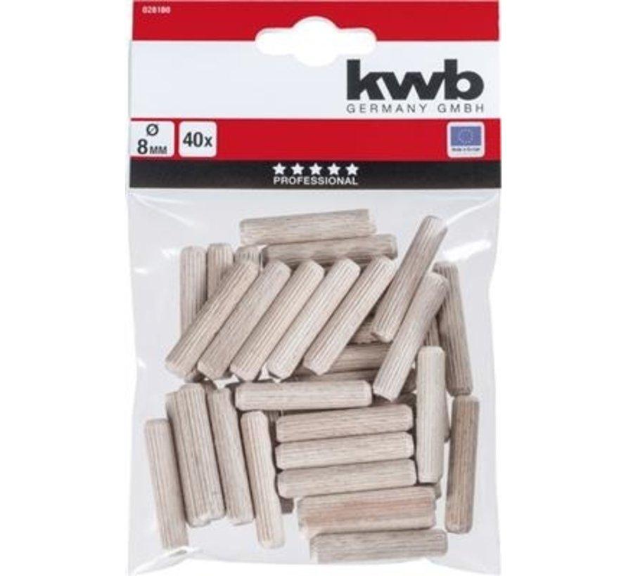 KWB Houten deuvels 8mm 40  stuks