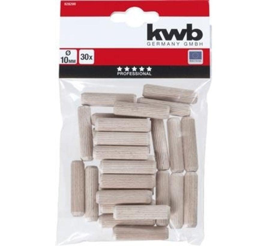 KWB Houten deuvels 10mm 30  stuks