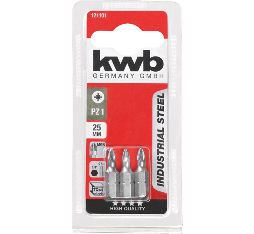 KWB Bit Pozidriv 1 - 25 mm INDUSTRIAL STEEL - 3 stuks