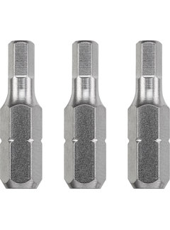 Bit zeskant 2,5 - 25 mm INDUSTRIAL STEEL - 3 stuks