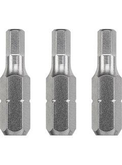 Bit zeskant 3,0  - 25 mm INDUSTRIAL STEEL - 3 stuks