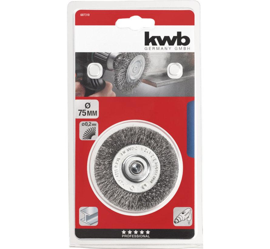 KWB Schijfborstel, HSS-staaldraad, golvend 75 mm
