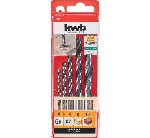 KWB Houtspiraalborenset CV-staal dubbele spiraal 5-