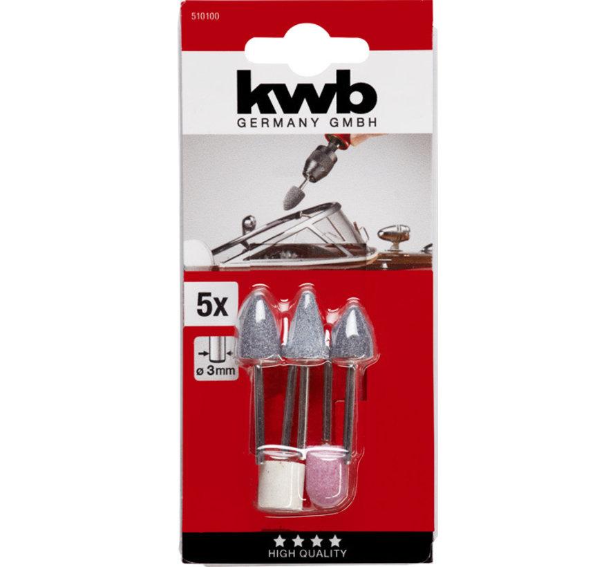 KWB Slijpsteenset 5-delig Stift 3mm