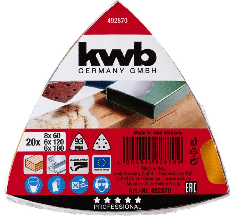 KWB Schuurpapier driehoek 20 stuks assorti