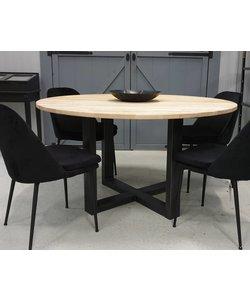 Eettafel rond 150 cm blank eiken met industrieel onderstel