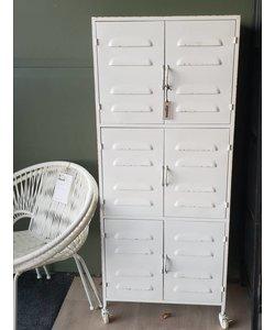 Verrijdbare wandkast vintage metaal locker wit