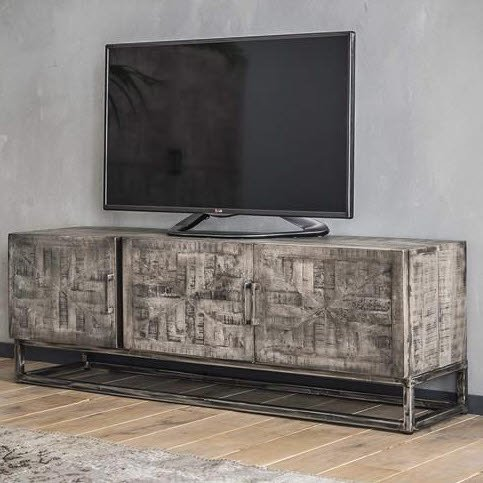 Fonkelnieuw TV meubel Grado ingelegd mango leem antiek   Houten Meubel Outlet ZP-95