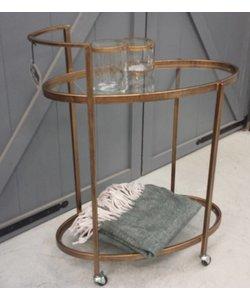 Trolley retro glas antique brass