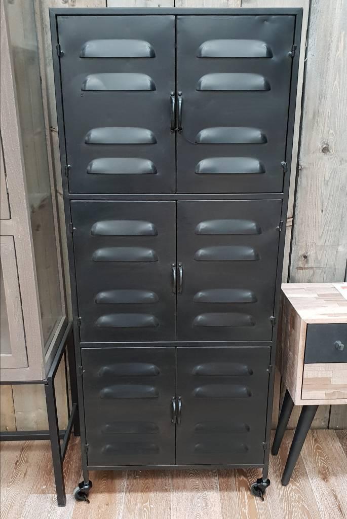 Verrijdbare Wandkast Vintage Metaal Locker Zwart