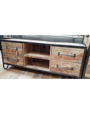 TV meubel mango industrieel Rift 150 cm met 4 lades