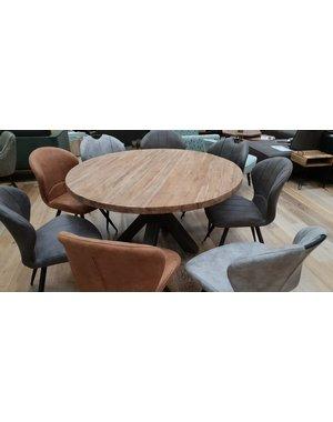 Eettafel rond met dik massief teak blad Ø 130 cm