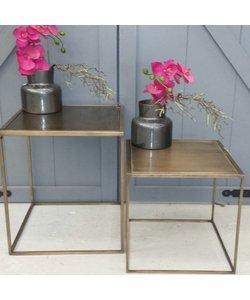 Set van twee salontafels metallic