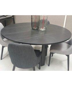 Eettafel Industrial eiken blacknight 130 cm
