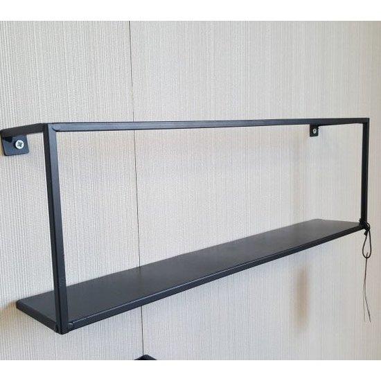Wandplank Zwart Metaal Hout.Wandplank Metaal S Zwart Houten Meubel Outlet
