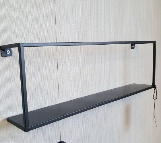 Wandplank Zwart Metaal Hout.Wandplank Metaal S Zwart