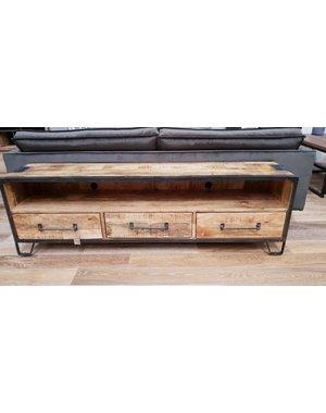 TV meubel mango industrieel Rift 150 cm met 3 lades