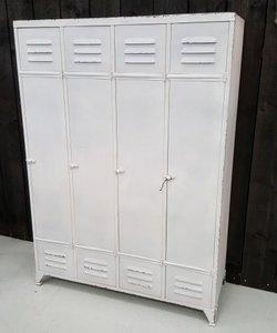 Lockerkast 4 deurs staal vintage wit