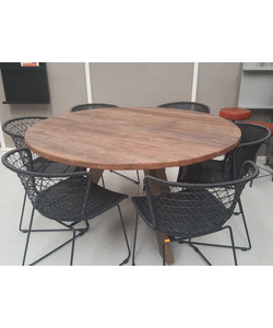 Eettafel rond 140 cm naturel bruin