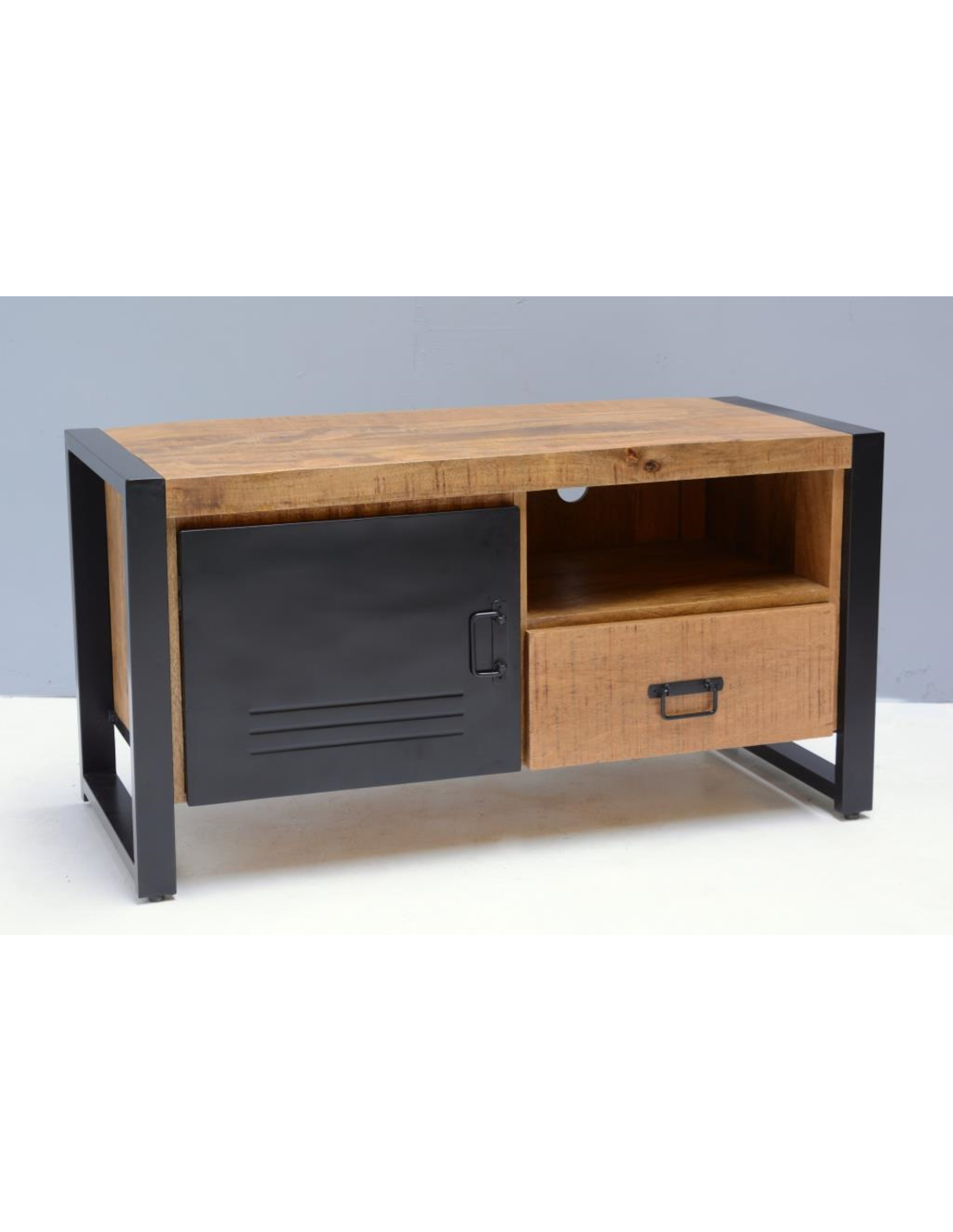 Wonderlijk TV meubel Bas mango met staal klein - Gratis thuisbezorgd | Houten JX-08
