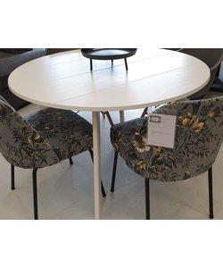 Eettafel Rond 120 cm eiken met v groeven wit