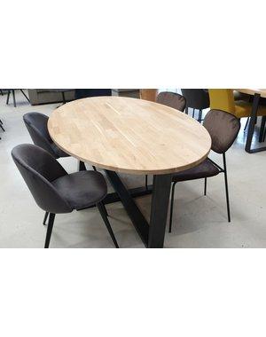 Ovale eettafel massief eiken 200 x 110 cm