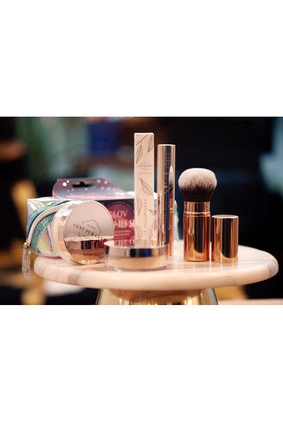 Le Volumieux Mascara + Retractable Kabuki + Glov Moon pads set + Blush Rosé Gold