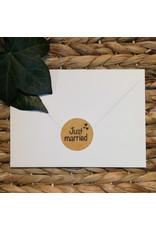 Bruidsknaller Leuke kraftpapier  'Just married'  stickers voor op de bedankjes - per 10 stuks