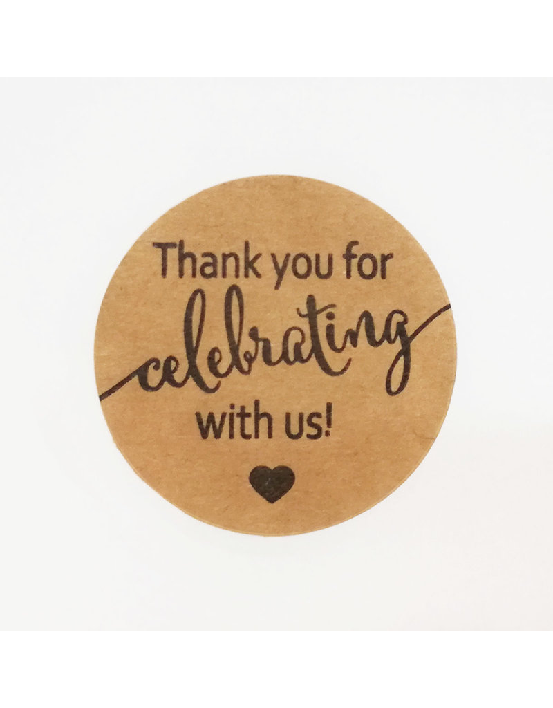 Bruidsknaller Leuke kraftpapier stickers ''Thank you for celebrating with us' - per 10 stuks
