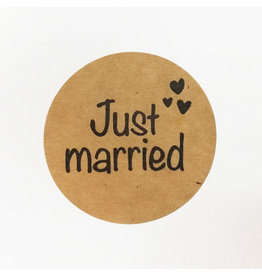 Bruidsknaller 10 stickers 'Just married' kraftpapier