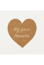 Bruidsknaller Kraftpapier stickers 'Wij gaan trouwen' voor de aankondiging van jullie bruiloft - per 10 stuks