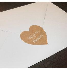 Bruidsknaller 10 stickers 'Wij gaan trouwen' kraftpapier