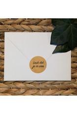Bruidsknaller Leuke kraftpapier stickers met de tekst 'Leuk dat je er was' - per 10 stuks