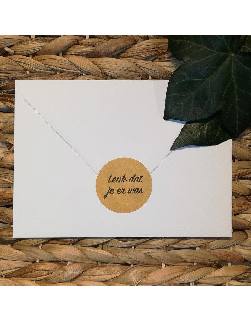Bruidsknaller Leuke Kraftpapier Stickers Met De Tekst Leuk Dat Je Er Was Per 10 Stuks
