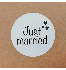 Bruidsknaller 10 stickers 'Just married' wit