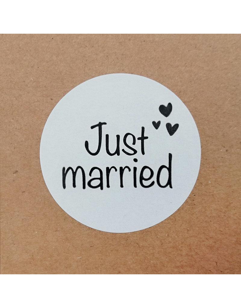 Bruidsknaller 'Just married'  stickers voor op bedankjes en goodiebags - per 10 stuks