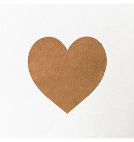 Bruidsknaller 10 stickers kraftpapier hartvorm