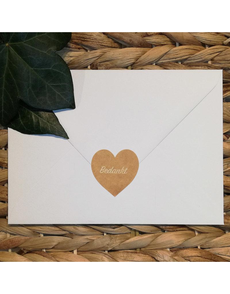 Bruidsknaller Kraftpapier stickers 'Bedankt' - per 10 stuks