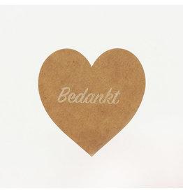 Bruidsknaller 10 stickers 'Bedankt' kraftpapier