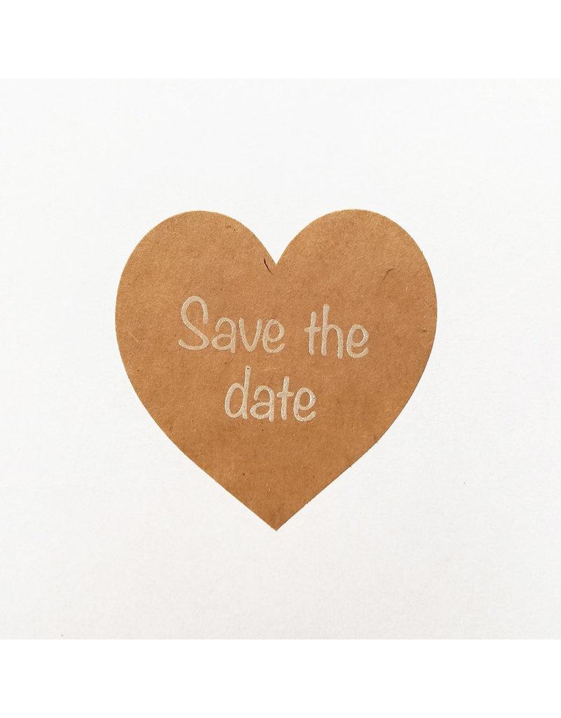 Bruidsknaller Kraftpapier Save The Date stickers in hartvorm - per 10 stuks