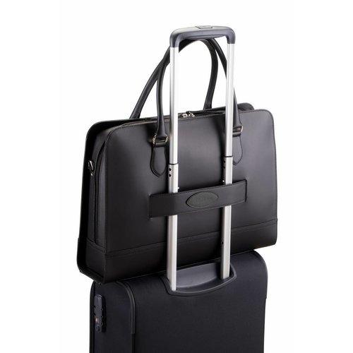 Su.B 13.3 Inch Laptop Bag with Trolley Strap for Women - Split Leather - Briefcase, Handbag, Messenger Bag - Black