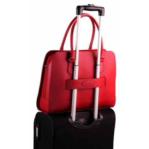 Su.B 13.3 Inch Laptop Bag with Trolley Strap for Women - Split Leather - Briefcase, Handbag, Messenger Bag - Wine Red