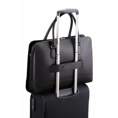 Su.B Laptoptas 15 6 inch - Dames Handtassen - Dames Schoudertas met Laptopvak en Trolley Riem -  Leren Aktetassen - Zwart